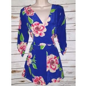 Anthropologie Yumi Kim Blue Floral Romper Silk